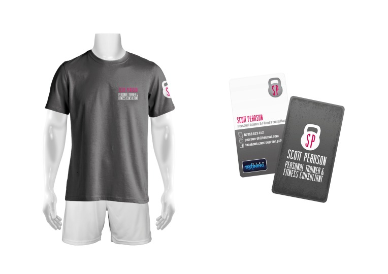 Pearson PT t-shirt and business cards